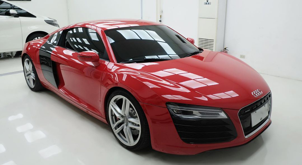 red car with ceramic coating